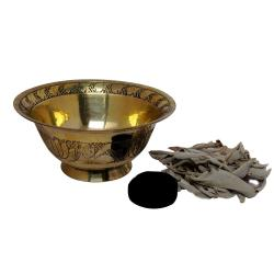 Satyamani Handcrafted Brass Bowl for Set  with a Charcoal and Sage Leaves