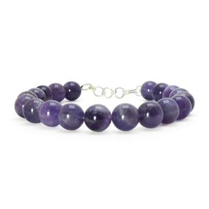 Satyamani Amethyst Bead 8 mm Bead Extendable with Hookh (Pack of 1 Pc)