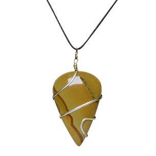 Satyamani Natural Yellow Agate Wrapped Drop Shape cabochon pendant
