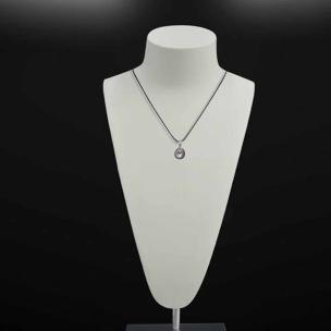 Satyamani Natural White Topaz Semi Precious Gemstone Oval Pendant