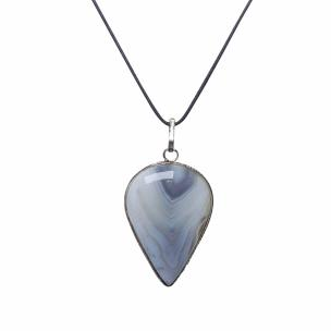 Satyamani Natural Grey Agate Drop Shape Pendant