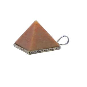 Satyamani Natural Energised Peach Moon Stone Pyramid Pendant
