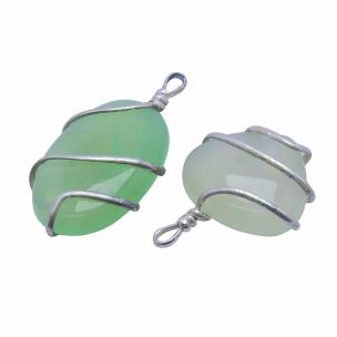 Satyamani Natural Energised Prehnite Wrapped Leaf Shape Pendant ( Pack of 1 Pc)