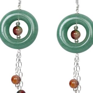 Satyamani Jade and Bloodstone Semi-Precious Earrings