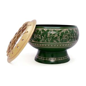Satyamani Brass Bowl Green with Cover 2.5