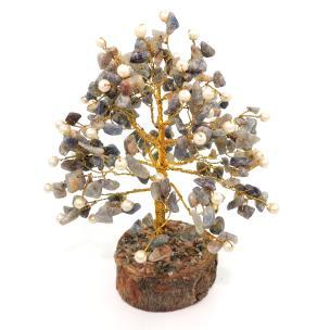 Satyamani Natural Energized Sodalite Crystal Tree With Pearl (240 Dana)