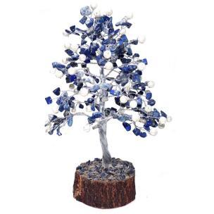 Satyamani Natural Energized Lapis-Lazuli Crystal Tree with Pearl (240 Dana)