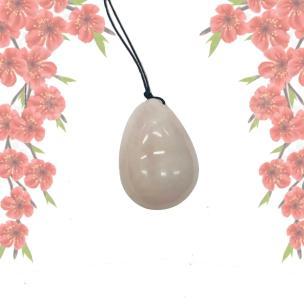 """Satyamani Energized Rose Quartz 1.5"""" Egg with thread for massage"""