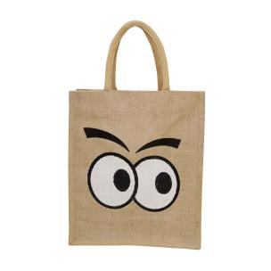 Alokik Eco Friendly Multipurpose Reusable Fancy Cautious Eyes Carry Jute Bags for daily routine (Pack of 1 Pc.)