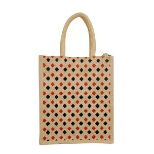 Alokik Eco Friendly Fancy Multi Diamond Carry Jute Bags for daily routine (pack pf 2 pcs.)