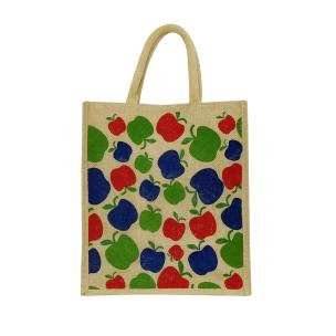 Alokik Eco Friendly Naturally Processed Multipurpose Reusable Apple Print Shoulder Shopping Grocery Carry Bag Lunch Jute Bags for Unisex with Zipper