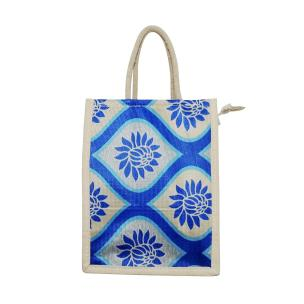 Alokik Eco Friendly Naturally Processed Multipurpose Reusable Fancy Multicolor (Royal Blue and Beige) Dyed Laminated Bottle Jute Bags