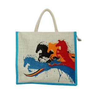 Alokik Eco Horse Print Shoulder Carry Bag Turquoise Jute Bags with Zipper (Pack of 2 Bags)