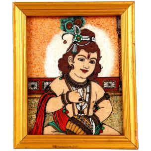 Magical Collection Little Kanha Handicraft Painting in Natural Crystals