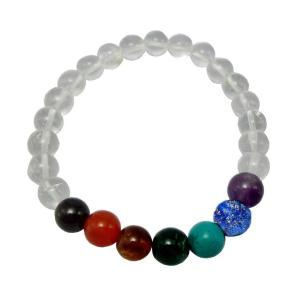 Satyamani 7 chakra Beads Bracelet In Clear Quartz