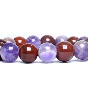 Satyamani Amethyst & Jasper Bead Bracelet For Brain and Confidence