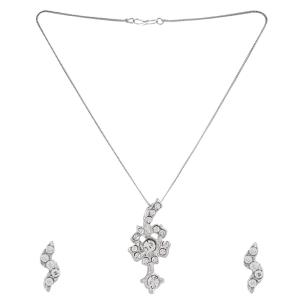 Satyamani  Austrian Crystal Studded Floral Designer Jewelry Set With Earring