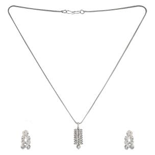Satyamani  Austrian Crystal Studded Leaf Shape  Designer Jewelry Set With Earring