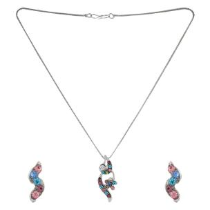 Satyamani  Austrian Crystal Studded Multicolor  Designer Jewelry Set With Earring