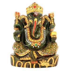 Satyamani Dark Green Aventurine Showpiece Ganesha