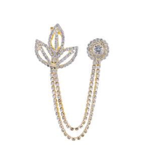 Satyamani Bel Patra Golden Metal Chain with Semi-Precious Cubic Zirconia Brooch