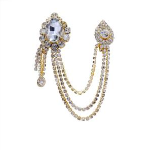 Satyamani Big Diamond cut Quartz  Golden Metal Chain with Semi-Precious Cubic Zirconia Brooch