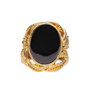 Satyamani Black Agate Ring For Men Gold Plated Oval Shape