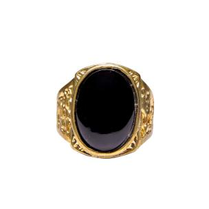 Satyamani Black Agate Super Ring For Men Gold Plated Oval Shape
