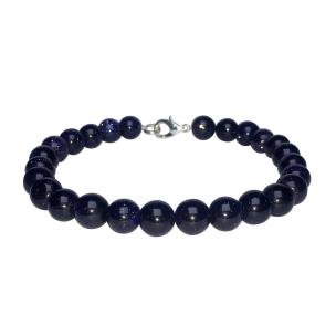 Satyamani Blue Goldstone Beads Bracelet with Hook