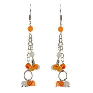 Satyamani Energised Carnelian and Moonstone Semi-Precious Earrings
