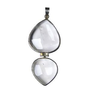 Satyamani Clear Quartz Double Heart Pendant for True Love