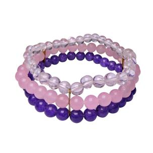 Satyamani Combination (Amethyst, Rose Quartz & Clear Quartz) Bracelet (Pack of 1Pc)