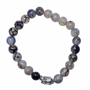Satyamani  Dyed Black Dragon Vein Agate 8 mm Bead Stone Buddha Bracelet , For Unisex