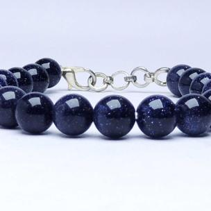 Satyamani Energised Blue Goldstone Beads Bracelet with Hook