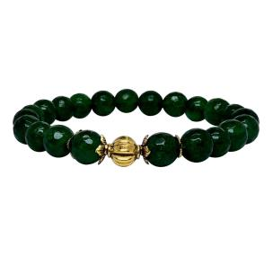Satyamani Heat Processed Green Onyx 8 mm Bead Bracelet Designer 2