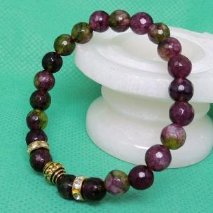 Satyamani Heat Processed Multi Tourmaline 8 mm Bead Bracelet Designer 3 Color: Multi color, For Unisex