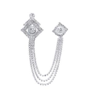 Satyamani Kite Silver Metal Chain with Semi-Precious Cubic Zirconia Brooch