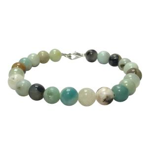 Satyamani Natural Amazonite Beads bracelet with Hook