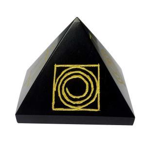 Satyamani Natural Balck Obsidian Reiki Symbol Pyramid 40 mm.