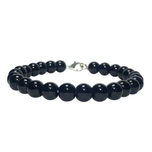 Satyamani Natural Black Agate Beads Bracelet with Hook