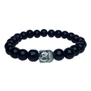 Satyamani Natural Black Agate Buddha Bracelet (Pack of 1Pc)