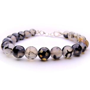 Satyamani Natural Black Dragon Vein Agate Beads Bracelet with Hook