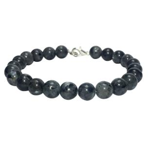 Satyamani Natural Black Labradorite Beads Bracelet with Hook