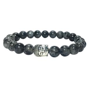 Satyamani Natural Black Labradorite Buddha Bracelet (Pack of 1Pc)