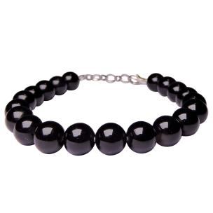 Satyamani Natural Black Obsidian 8 MM Beads Bracelet with Hook (Pack of 1Pc)