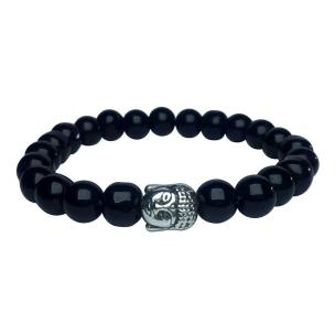 Satyamani Natural Black Obsidian Buddha Bracelet for Energies & Protection