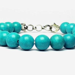 Satyamani Natural Blue Howlite 8 MM Beads Bracelet with Hook