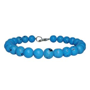 Satyamani Natural Blue Howlite Beads Bracelet with Hook