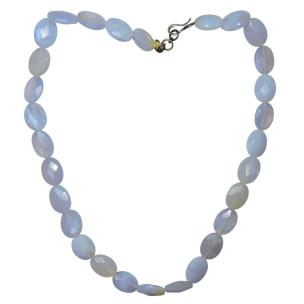 Satyamani Natural Blue Lace Agate Diamond Cut Necklace for inner stability, composure, and maturity