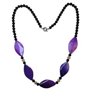 Satyamani Natural Blue Onyx & Black Obsidian Fancy Necklace for imagination and creative work